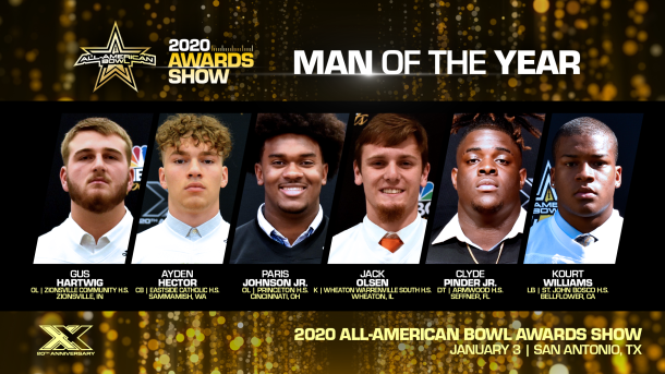 The All-American Bowl Selection Committee today announced the finalists for the prestigious All-American Bowl Man of the Year Award. Nominees epitomize a high standard of excellence in community service and athletic distinction.