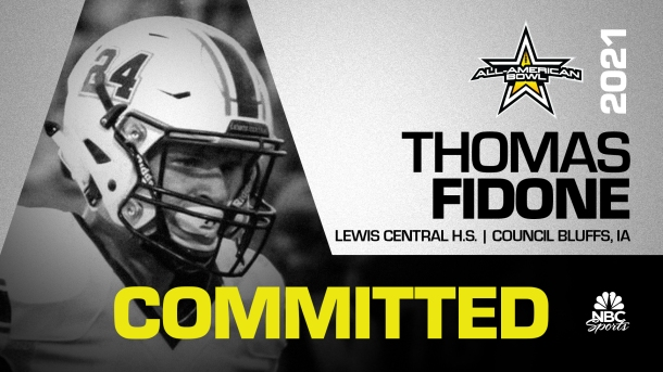 Thomas Fidone (Council Bluffs, IA/ Lewis Central), the No.1 tight end in the country and four-star prospect, has officially committed to the 2021 All-American Bowl. Having been selected to play in the twenty first edition of the All-American Bowl, Fidone will play in the annual East vs. West matchup on Saturday, January 9, 2021 in the Alamodome in San Antonio, Texas.