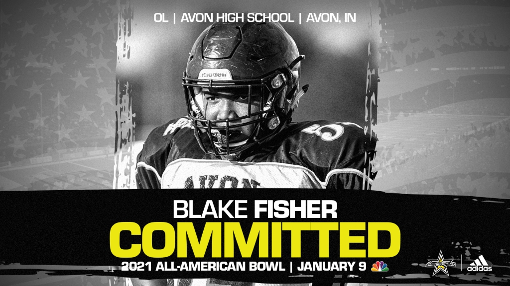 Blake Fisher (Avon, IN/Avon High School), four-star recruit and Notre Dame commit, has officially committed to the 2021 All-American Bowl.