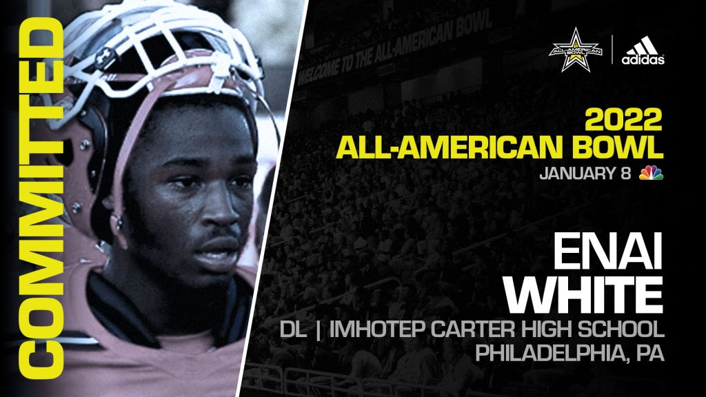 Enai White (Philadelphia, PA/ Imhotep Carter High School), four-star recruit, has officially committed to the 2022 All-American Bowl.
