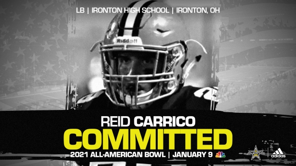 Reid Carrico (Ironton, OH/ Ironton High School), four-star recruit and future Ohio State Buckeye has officially committed to the 2021 All-American Bowl.