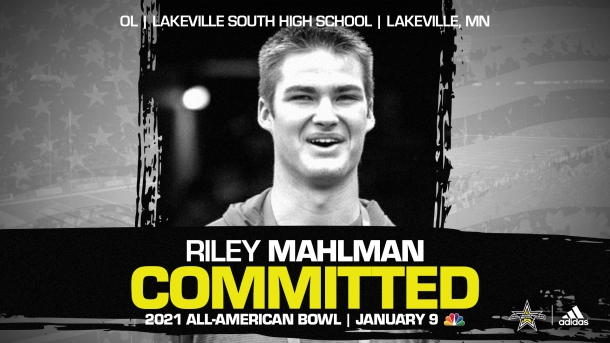 Riley Mahlman (Lakeville, MN/ Lakeville South High School), four-star recruit and University of Wisconsin commit has officially committed to the 2021 All-American Bowl.