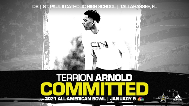 Terrion Arnold (Tallahassee, FL/ St. Paul II Catholic High School), four-star recruit, has officially committed to the 2021 All-American Bowl.