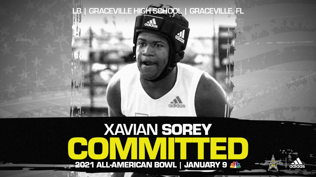 Xavian Sorey (Graceville, FL/ Graceville High School), four-star recruit, has officially committed to the 2021 All-American Bowl.