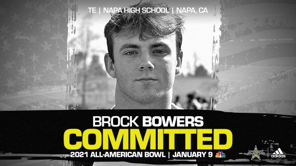 Brock Bowers (Napa, CA/ Napa High School), four=star prospect and the No.2 tight end in the nation, has officially committed to the 2021 All-American Bowl.