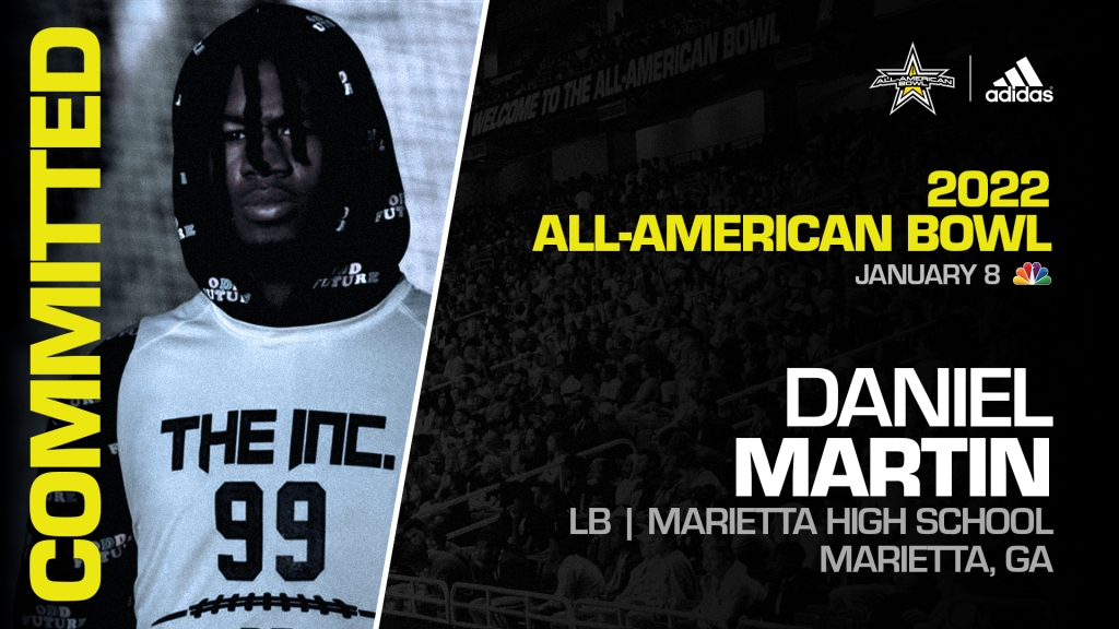 Daniel Martin (Marietta, GA/ Marietta High School), four-star prospect and top 50 overall prospect, has officially committed to the 2022 All-American Bowl.