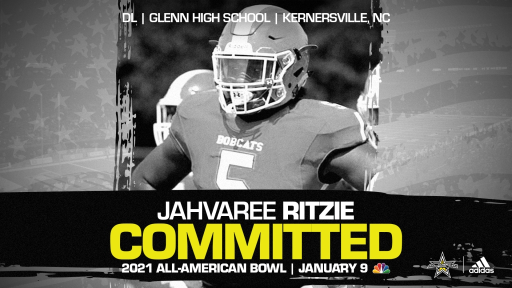 Jahvaree Ritzie (Kernersville, NC/ Glenn High School), the four-star prospect from North Carolina, has officially committed to the 2021 All-American Bowl.