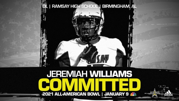 Jeremiah Williams (Birmingham, AL/ Ramsay Valley High School), the four-star prospect from the state of Alabma, has officially committed to the 2021 All-American Bowl.