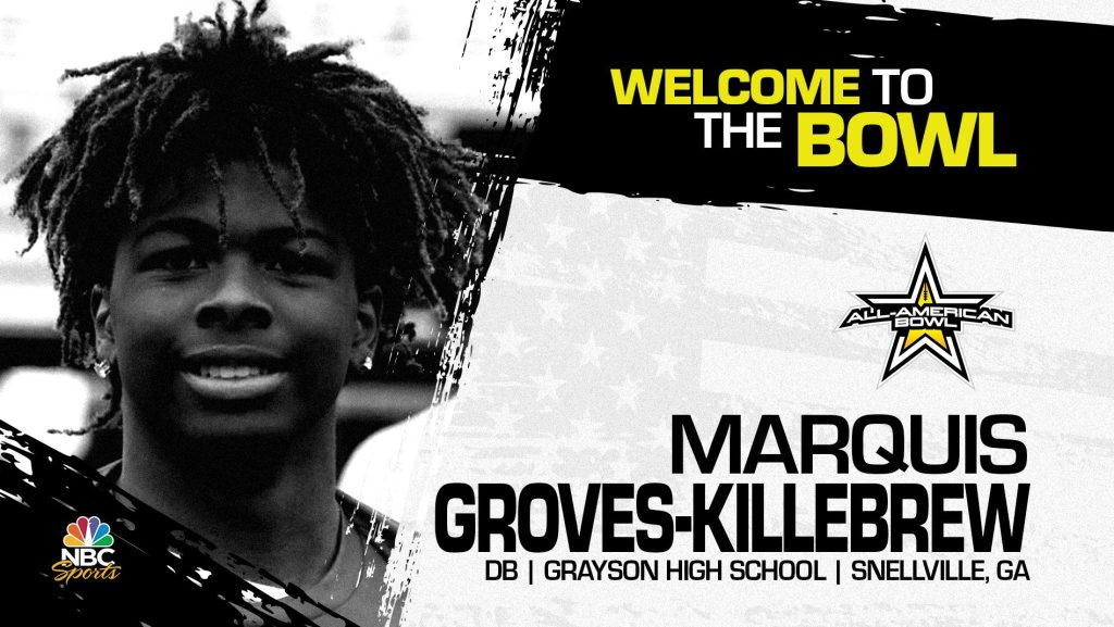 Marquis Groves-Killebrew (Snellville, GA/ Grayson High School), four-star defensive back and top 100 prospect, has officially committed to the 2022 All-American Bowl.