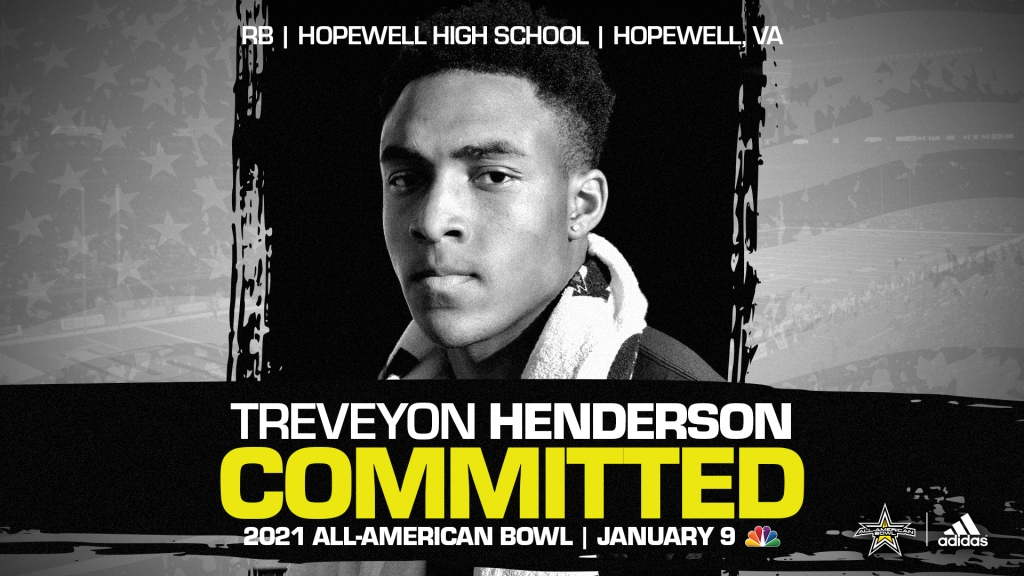 Treveyon Henderson (Hopewell, VA/ Hopewell High School), the Ohio State commit and the top running back in the nation, has officially committed to the 2021 All-American Bowl.
