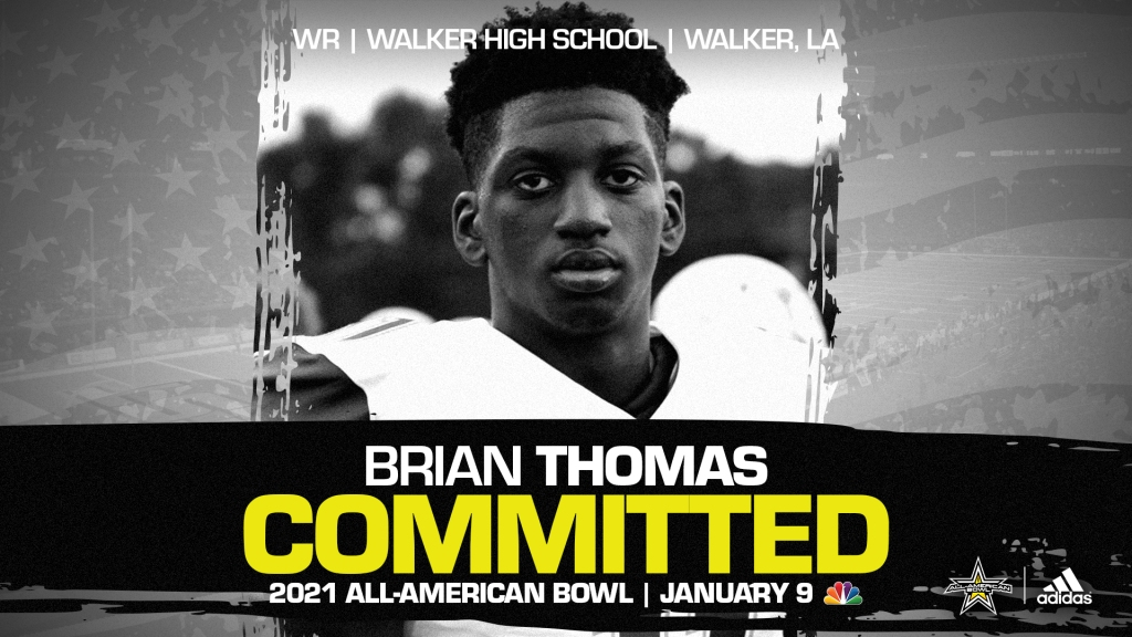 Brian Thomas Jr. (Walker, LA/ Walker High School), four-star wide receiver and one of the top overall prospects from the state of Louisiana, has officially committed to the 2021 All-American Bowl.