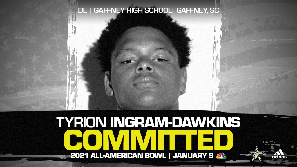 Tyrion Ingram-Dawkins (Gaffney, SC/ Gaffney High School), four-star defensive lineman and top overall prospect from the state of South Carolina, has officially committed to the 2021 All-American Bowl.