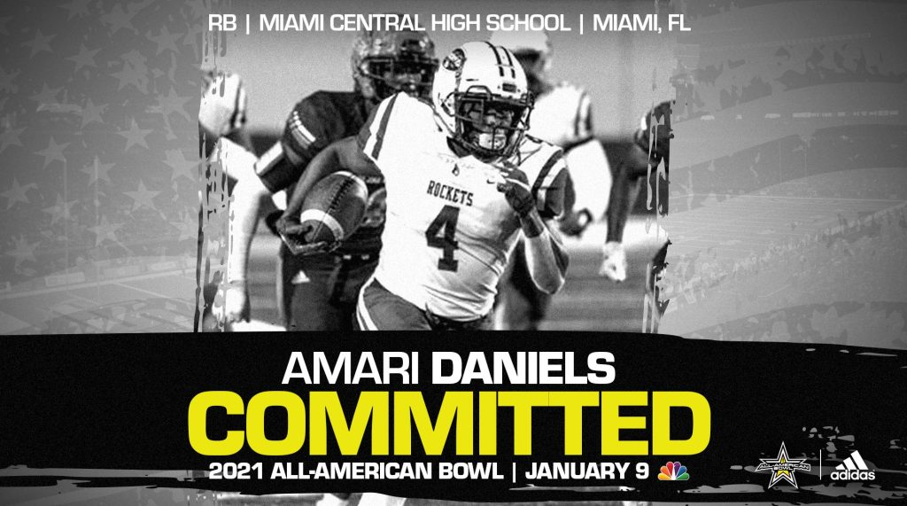 Amari Daniels (Miami, FL/ Miami Central High School), one of the top skill players from the state of Florida, has officially committed to the 2021 All-American Bowl.
