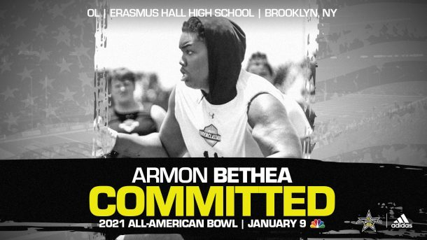 Armon Bethea (Brooklyn, NY/ Erasmus Hall High School), three-star recruit and fast rising prospect, has officially committed to the 2021 All-American Bowl.