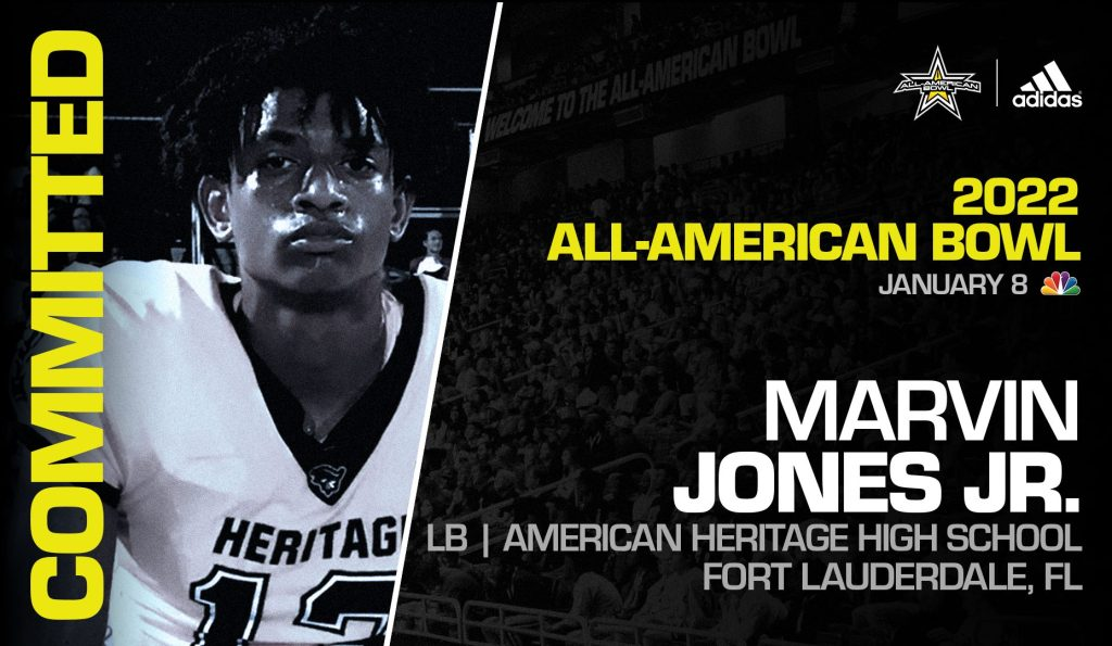Marvin Jones Jr. (Fort Lauderdale, FL/ American Heritage High School), four-star prospect and one of the top linebackers in the nation, has officially committed to the 2022 All-American Bowl.