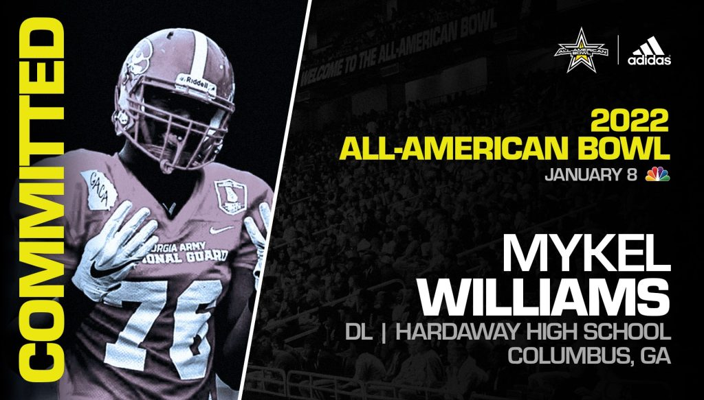 Mykel Williams (Columbus, GA/ Hardaway High School), four-star prospect and one of the top edge rushers in the nation, has officially committed to the 2022 All-American Bowl. H