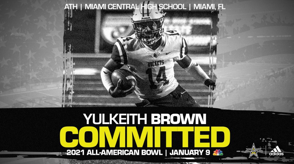 Yulkeith Brown (Miami, FL/ Miami Central High School), four-star prospect and one of the top athletes in the nation, has officially committed to the 2021 All-American Bowl.
