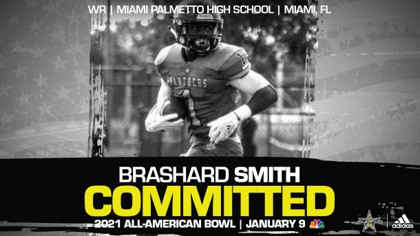 Brashard Smith (Miami, FL/ Miami Palmetto High School), University of Miami commit and three-star prospect, has officially committed to the 2021 All-American Bowl.