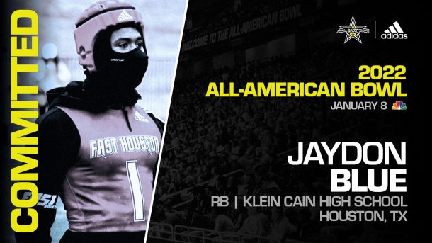Jaydon Blue (Houston, TX/ Klein Cain High School), four-star prospect and one of the top running backs in the nation, has officially committed to the 2022 All-American Bowl.