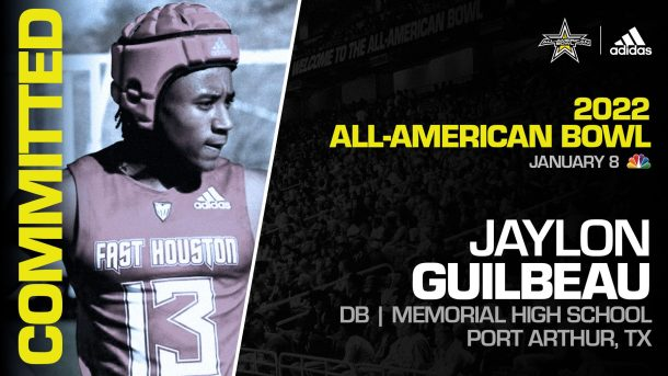 Jaylon Guilbeau (Port Arthur, TX/ Memorial High School), four-star prospect and one of the top defensive backs in the nation, has officially committed to the 2022 All-American Bowl.