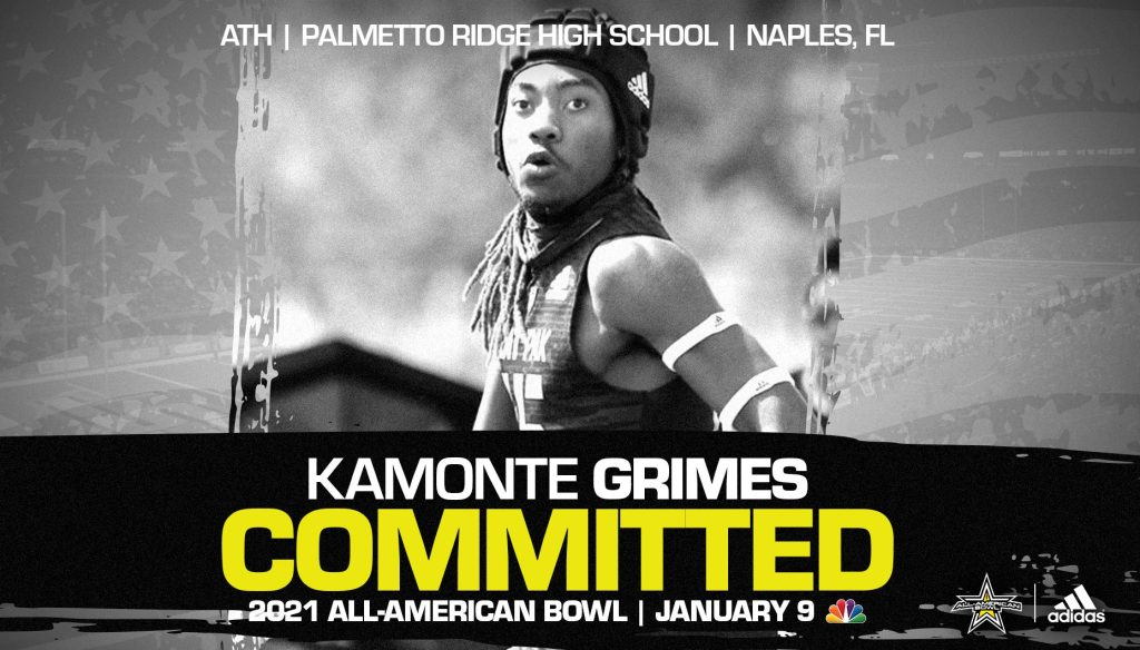 Kamonte Grimes (Naples, FL/ Palmetto Ridge High School), three-star recruit, has officially committed to the 2021 All-American Bowl.