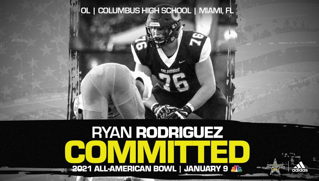 Ryan Rodriguez (Miami, FL/ Columbus High School), four-star prospect and University of Miami commit, has officially committed to the 2021 All-American Bowl.