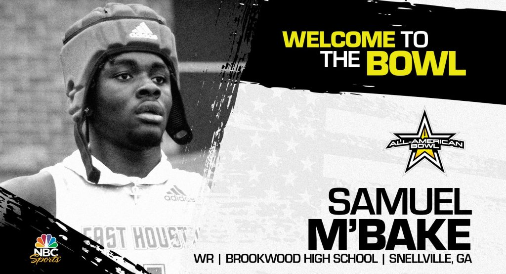 Samuel M'Bake (Snellville, GA/ Brookwood High School), four-star prospect and one of the premier pass catchers in the nation, has officially committed to the 2022 All-American Bowl.