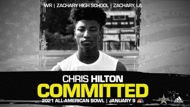 Chris Hilton (Zachary, LA/ Zachary High School), four-star recruit and for LSU Tiger, has officially committed to the 2021 All-American Bowl.