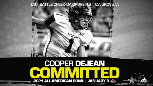 Cooper DeJean (Ida Grove, IA/ Battle Creek-Idea Grove High School), four-star recruit and University of Iowa commit, has officially committed to the 2021 All-American Bowl.