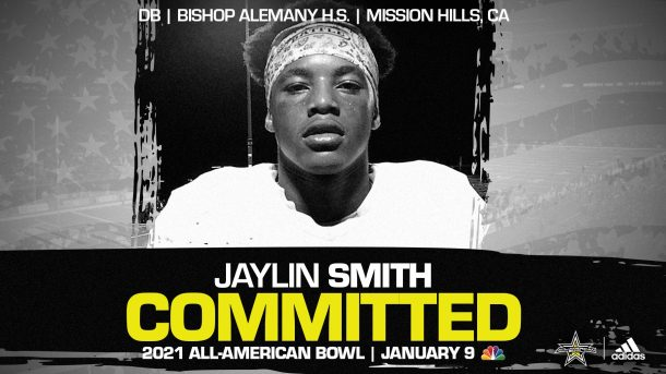 Jaylin Smith (Mission Hills, CA/ Bishop Aleman High School), four-star recruit and University of Southern California commit, has officially committed to the 2021 All-American Bowl.