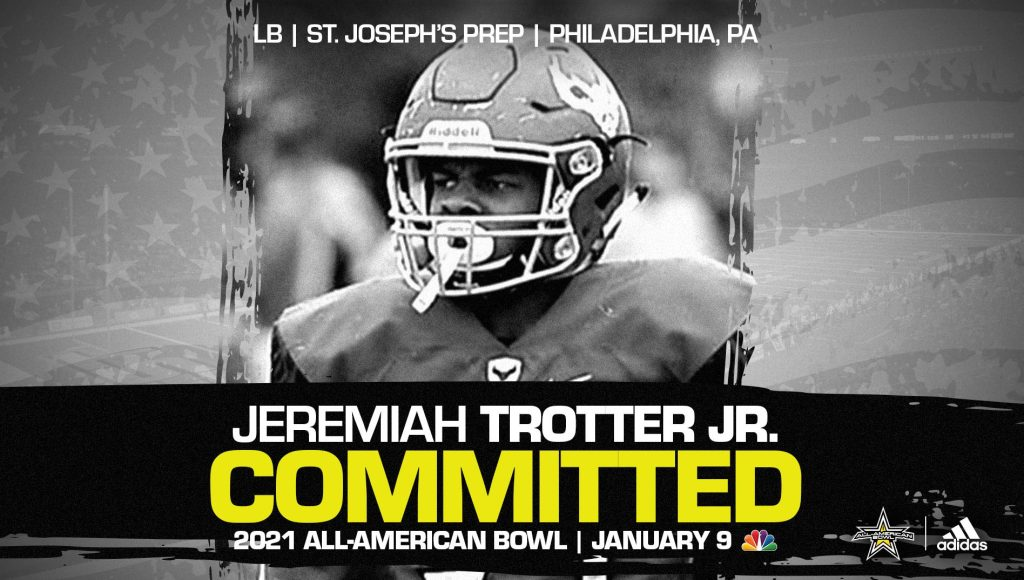 Jeremiah Trotter Jr. (Philadelphia, PA/ St. Josephs' Prep), four-star linebacker and Clemson commit, has officially committed to the 2021 All-American Bowl