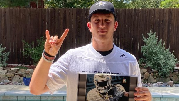 Kicker Joe McFadden (Southlake, Texas/Southlake Carroll High School), the University of Connecticut commit, was officially honored today as a 2021 All-American during a virtual jersey presentation as part of the first episode of the Road to the Dome digital series.