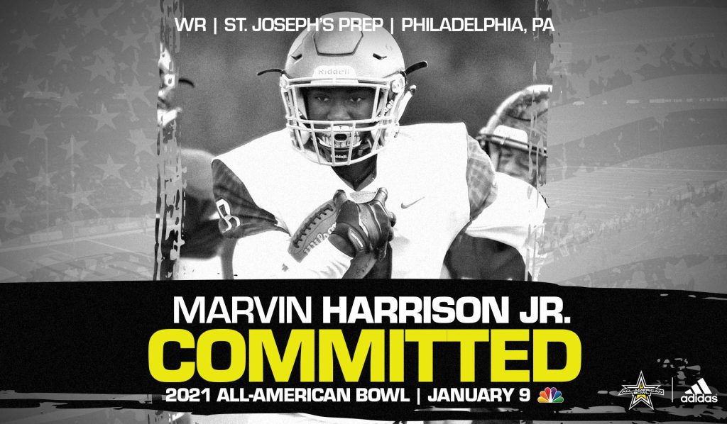 Marvin Harrison Jr. (Philadelphia, PA/ St. Josephs' Prep), four-star wide receiver and Ohio State University commit, has officially committed to the 2021 All-American Bowl.