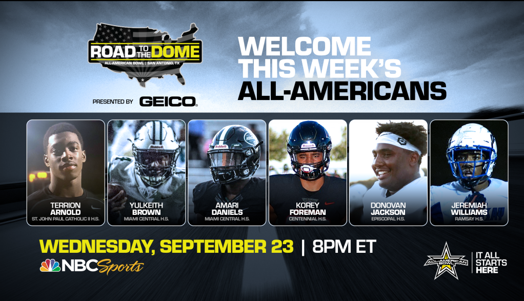 The 2021 All-American Bowl will continue the Road to the Dome tour on Wednesday, September 23 at 8 p.m. ET on the NBC Sports YouTube channel, honoring six All-Americans in the second installment of a 15-episode weekly digital series.