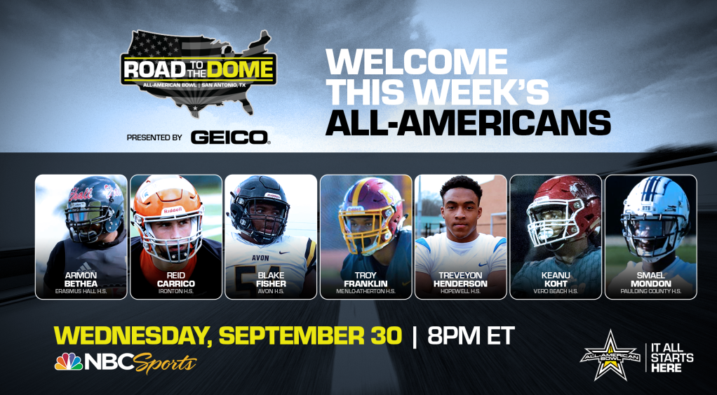 The 2021 All-American Bowl will continue the Road to the Dome tour on Wednesday, September 30 at 8 p.m. ET on the NBC Sports YouTube channel, honoring seven All-Americans in the third installment of a 15-episode weekly digital series.
