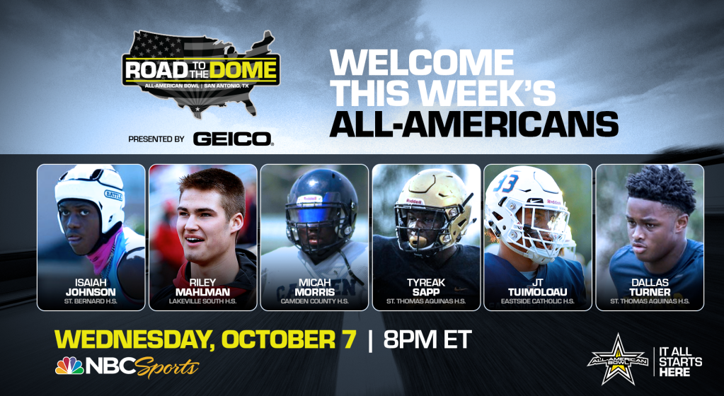 The 2021 All-American Bowl will continue the Road to the Dome tour on Wednesday, October 10 at 8 p.m. ET on the NBC Sports YouTube channel.