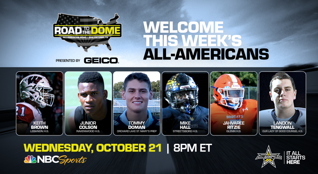 The 2021 All-American Bowl will continue the Road to the Dome tour on Wednesday, October 21 at 8 p.m. ET on the NBC Sports YouTube channel.