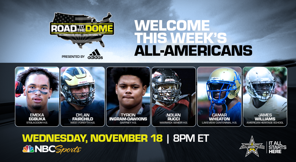 The 2021 All-American Bowl will continue theRoad to the Dometour on Wednesday, November 18 at 8 p.m. ET on the NBC Sports YouTube channel.