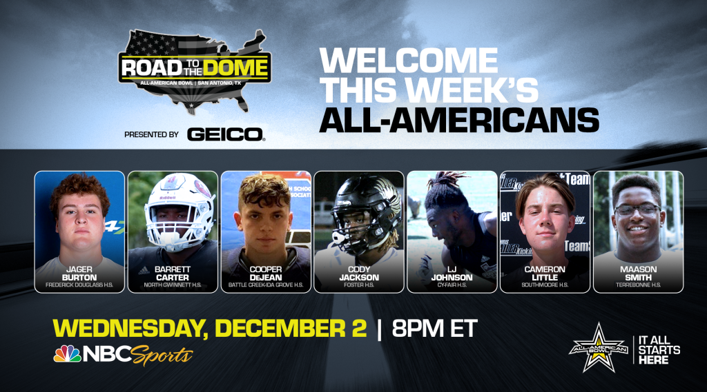 The 2021 All-American Bowl will continue the Road to the Dome tour on Wednesday, December 2 at 8 p.m. ET on the NBC Sports YouTube channel.