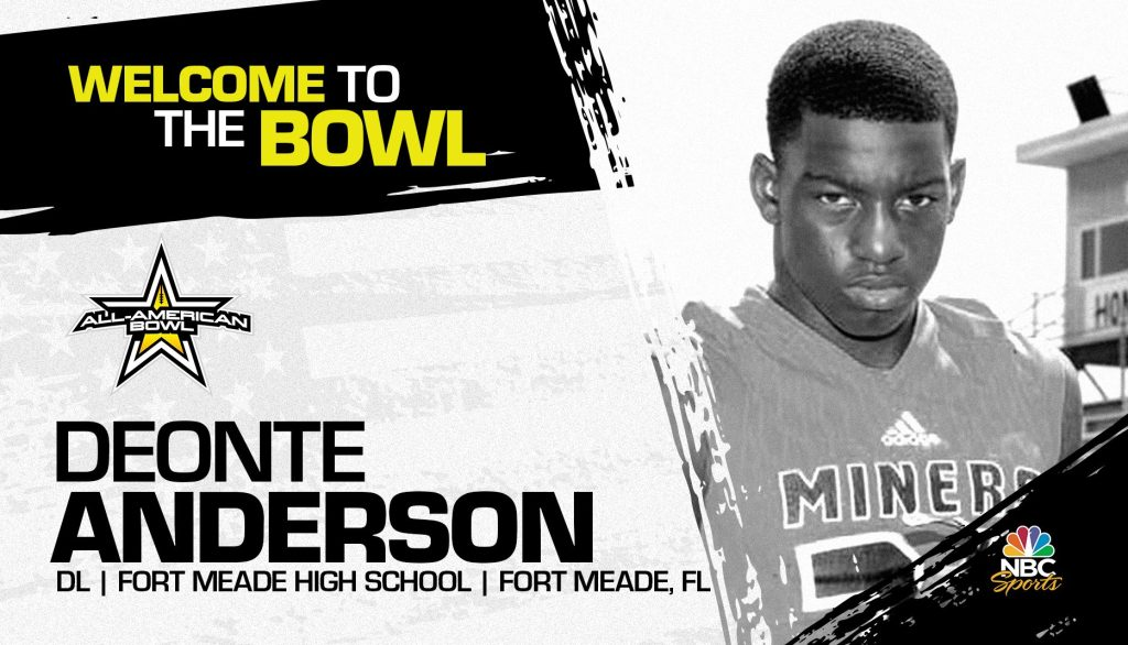 Deonte Anderson (Fort Meade, FL/ Fort Meade High School), the four-star prospect, has officially committed to the 2021 All-American Bowl.