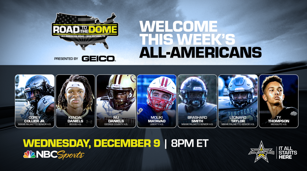 The 2021 All-American Bowl will continue theRoad to the Dometour on Wednesday, December 9 at 8 p.m. ET on the NBC Sports YouTube channel.