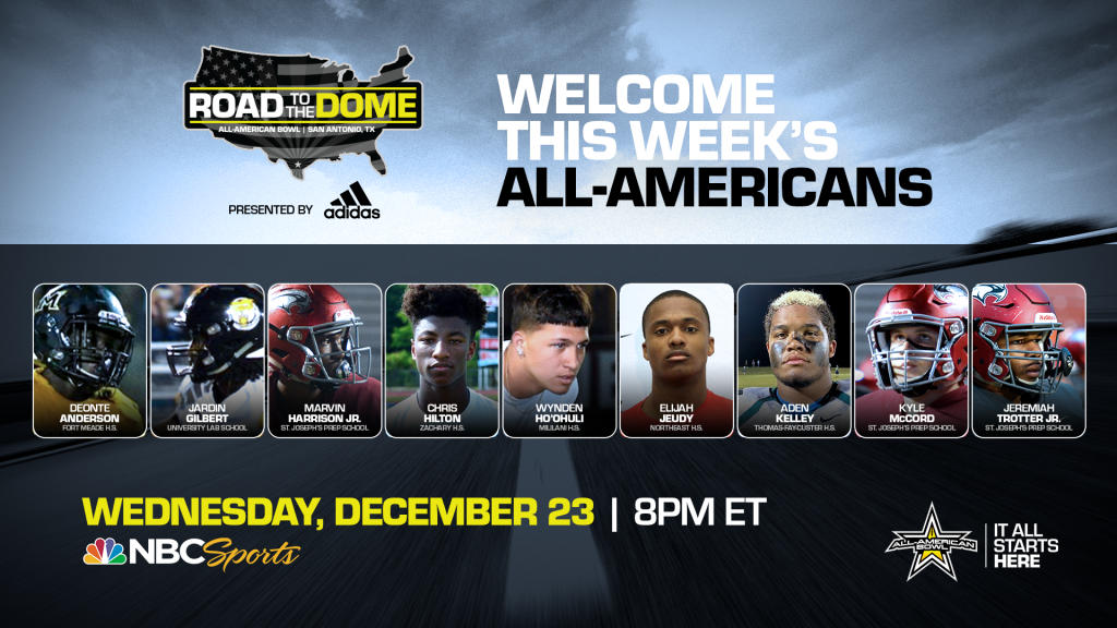 The 2021 All-American Bowl will continue theRoad to the Dometour on Wednesday, December 23 at 8 p.m. ET on the NBC Sports YouTube channel.
