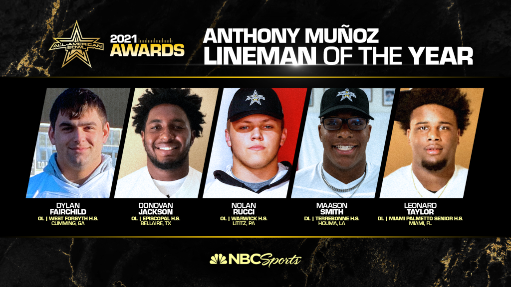 The All-American Bowl Selection Committee announced the finalists for the Anthony Muñoz Lineman of the Year, presented to the top high school lineman in the class of 2021.