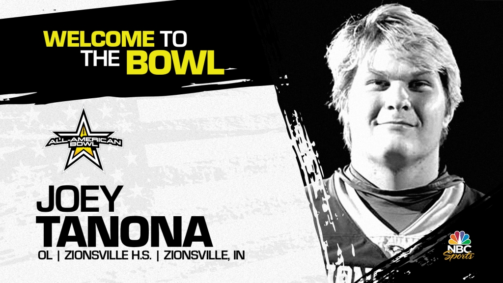 Joey Tanona (Zionsville, IN/ Zionsville High School), four-star prospect and Notre Dame commit, has officially committed to the 2022 All-American Bowl.