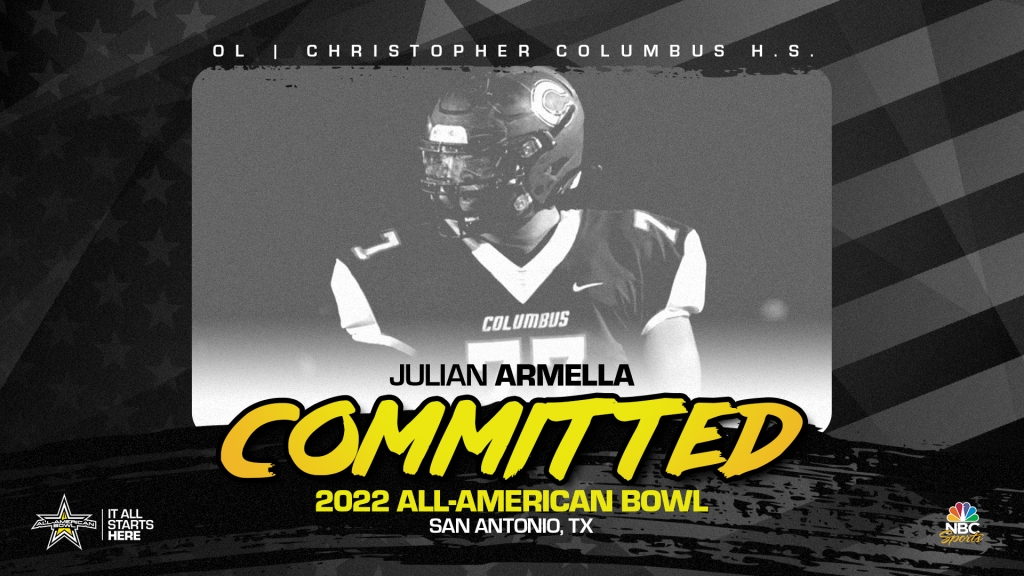 Julian Armella, four-star prospect and one of the top offensive linemen in the country, has officially committed to the 2022 All-American Bowl.