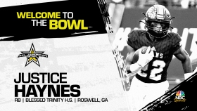 Justice Haynes (Roswell, GA/ Blessed Trinity High School), four-star running back, has officially committed to the 2023 All-American Bowl.