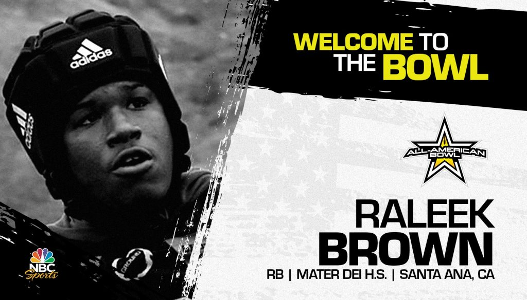 Raleek Brown (Santa Ana, CA/ Mater Dei High School), four-star prospect and the No. 2 tailback in the nation, has officially committed to the 2022 All-American Bowl.