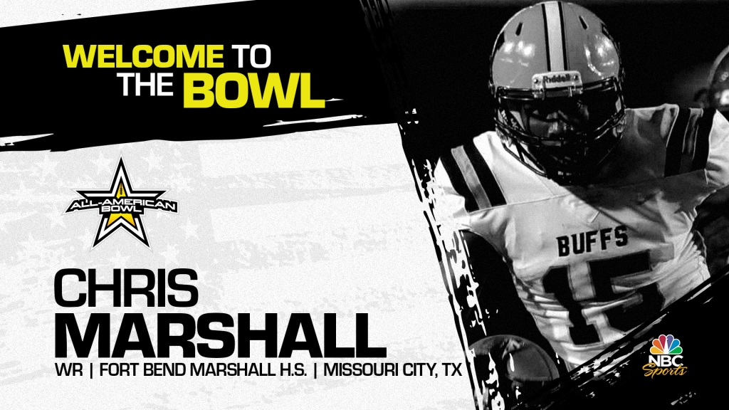Chris Marshall (Missouri City, TX/ Fort Bend Marshall High School), four-star wide receiver has officially committed to the 2022 All-American Bowl.