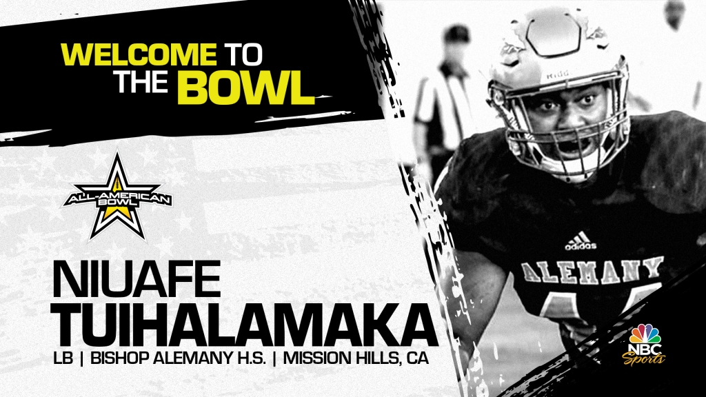 Niuafe Junior Tuihalamaka (Mission Hills, CA/ Bishop Alemany High School), four-star linebacker has officially committed to the 2022 All-American Bowl.