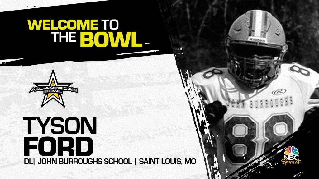 Tyson Ford (Saint Louis, MO/ John Burroughs School), four-star defensive lineman and Notre Dame commit, has officially committed to the 2022 All-American Bowl.